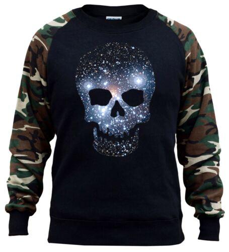 Men/'s Galaxy Space Skull Camo Raglan Sweatshirt Scary Halloween Stars Universe