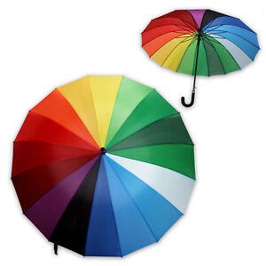 XL-Schirm-Regenschirm-Sonnenschirm-Stockschirm-sturmsicher-REGENBOGEN-120-cm