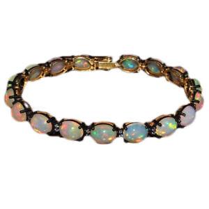 Natural-Ethiopian-Welo-Fire-Opal-Cabochon-Silver-Bracelet-Jewelry-DDL499