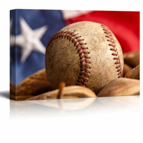 weathered ball and glove Baseball and mitt in front of the Flag 24x36 Canvas