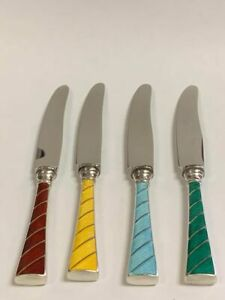 Set-of-4-Raavad-Guilloche-Enamel-Fruit-Knives-Sterling-and-Stainless