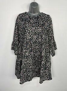 Bnwt Damen River Island Größe UK 12 Schwarz Weiß Daisy Casual Sommer Kittel Kleid