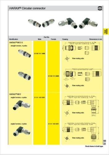 Harting HARAX M12 serie Cable de poste de montaje 4 Conector Macho M12 21031111405
