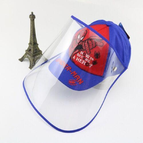Protective Anti-Fog Spit Shield Baseball Boy Girl Cap Kids Summer Spider-man Hat