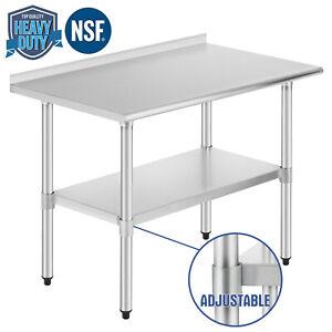Commercial-Prep-Work-Table-w-Backsplash-amp-Wheel-Kitchen-Restaurant-Stainless-Steel
