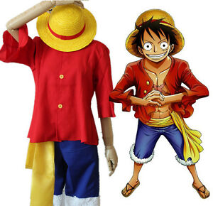 Pants One Piece Cosplay Costumes Monkey D Luffy 1st Cosplay T Shirt Clothes Hat Uniform For Children Kids Halloween Costumes