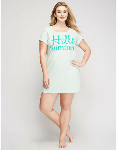 Cacique for Lane Bryant Cotton Knit Sleepshirt Gown Jade Dot Hello Summer