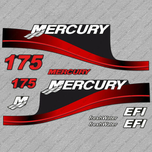Mercury 175hp EFI FreshWater outboard engine decals RED sticker set