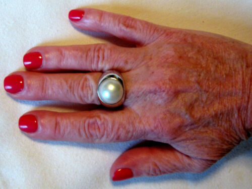 13mm Mabe Pearl Sterling Silver .925 Ring White or Blue
