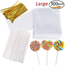 300PCS Cake Pops Sucker Making Tools Cake Candy Lollipop Sticks and Clear Bags