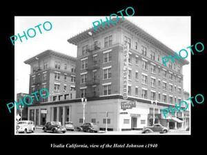 OLD-LARGE-HISTORIC-PHOTO-OF-VISALIA-CALIFORNIA-VIEW-OF-THE-HOTEL-JOHNSON-c1940