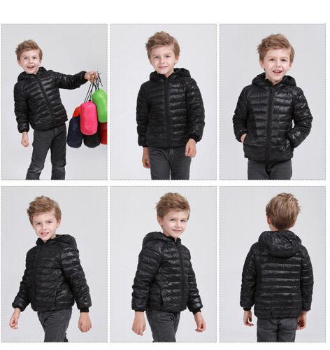 Kids Boy Girl Down Jacket Winter Cloth Warm Duck Feather Hoodies Outerwear Coat