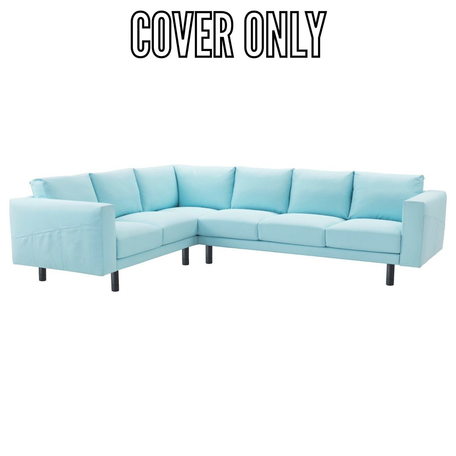 IKEA COVER FOR NORSBORG SECTIONAL 5 SEAT CORNER SOFA EDUM LIGHT BLUE