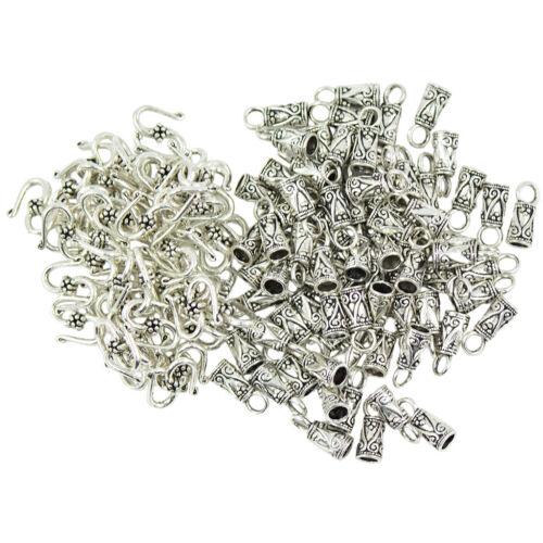 30 Sets Tibetan Silver Pewter S Hook End Caps Jewelry DIY Making Findings