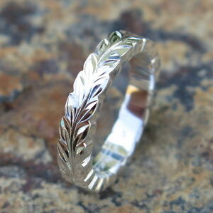Hawaiian Jewelry Sterling Silver Maile Leaf Wedding Ring Band 4mm