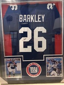pretty nice 0f8ab 64572 Details about New York Giants Saquon Barkley Signed Framed Jersey