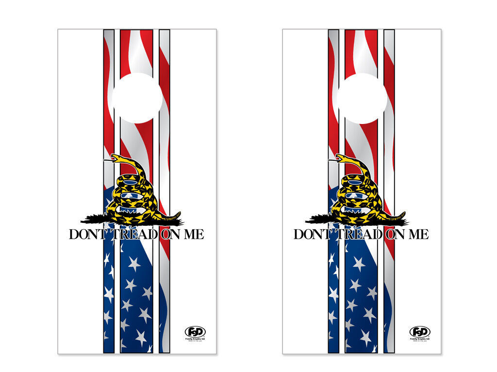 FGD  Brand  Cornhole Wrap Set 2nd Amendment Gadsden LAMINATED Vinyl Decal  buy brand