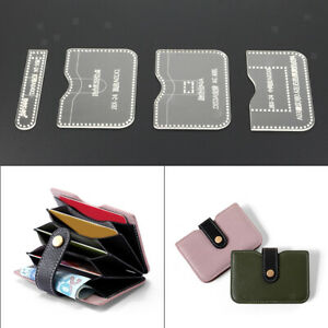Details About 4pcs Diy Portfolio Leather Craft Acrylic Wallet Pattern Stencil Template