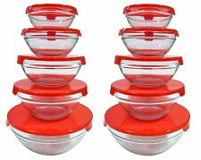 2 SETS 5 Pc Nesting Glass Bowl Set with Red Snap on Lids -  Mix Store Serve