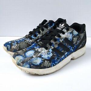 Adidas-Zx-Flux-Blue-White-Black-Flower-Pansy-Trefoil-Mens-Sz-7-5-AQ8600