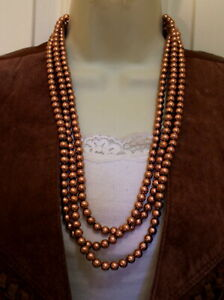 NEW-Bright-Copper-Multi-Strand-Layered-Beads-Necklace-Western-Cowgirl