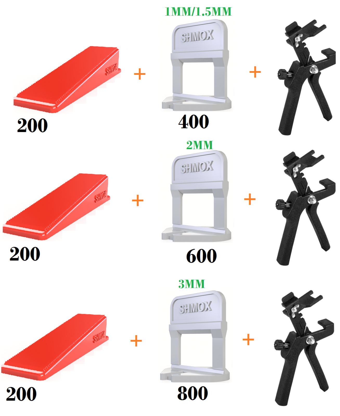 600 800 1000 Tile Leveling Spacer System Tool & Wedges & Pliers Tool Tiling