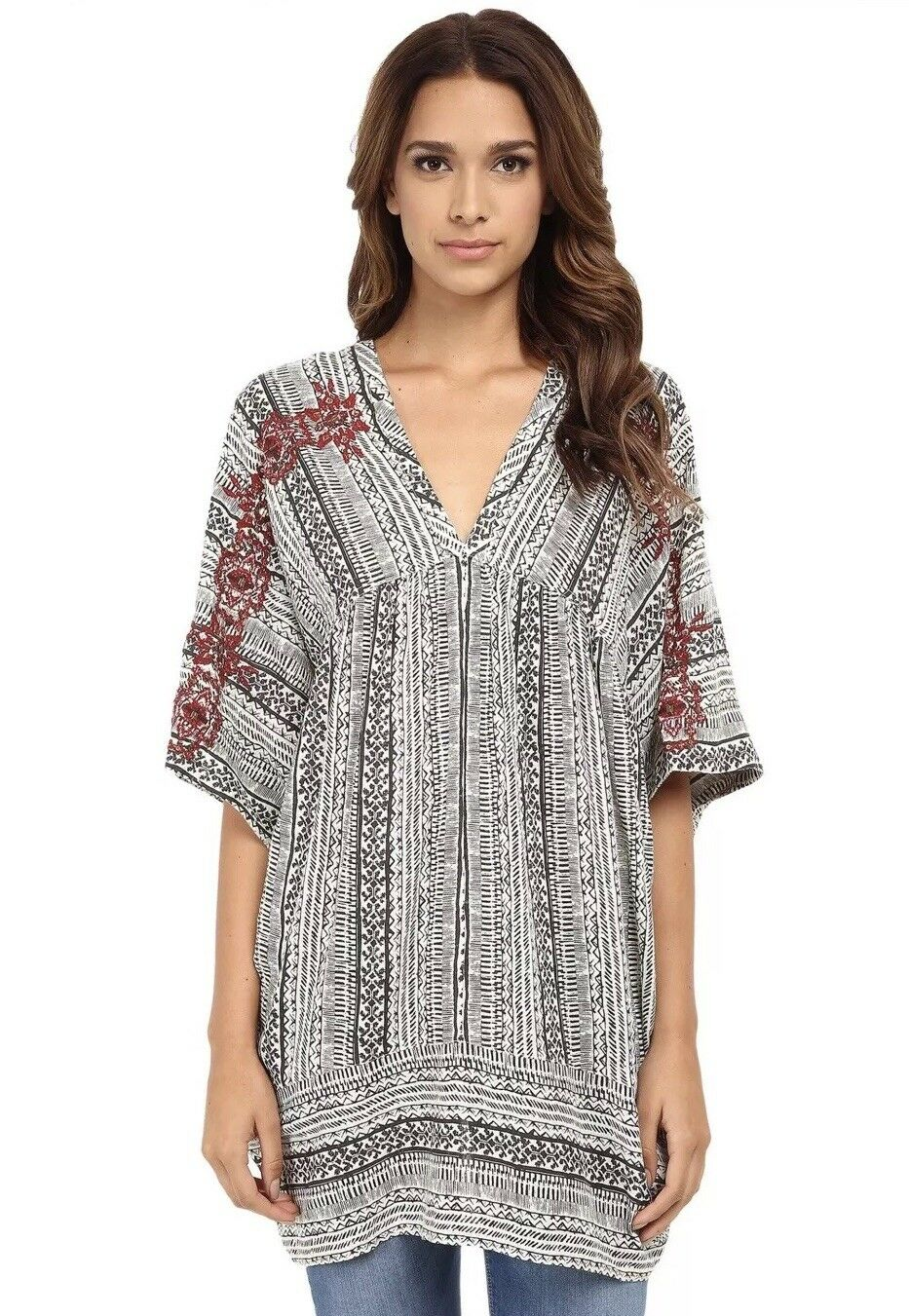 NEW  168 Free People Tribal Beat Kaftan Tunic Size XS Top Mini Dress