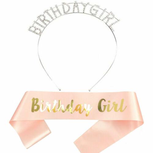 Happy Birthday Silver Tiara With Rose Gold Sash 16//18//21//30//50//60th Girls Crown~