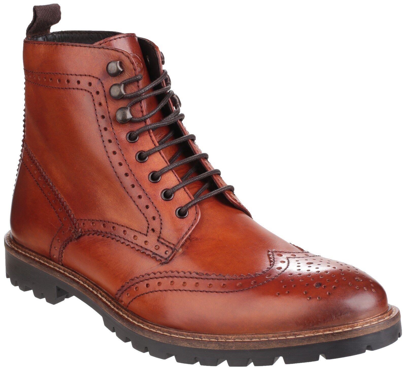 Base London Troop Tan Lace Up Brogue Ankle Boots Mens