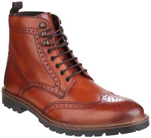 Details about Base London Troop Tan Lace Up Brogue Ankle Boots Mens