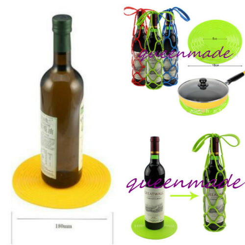 Home Kitchen Wine Bottle Holder Silicone Flexible Mesh Bag Placemats Desk Mats Q