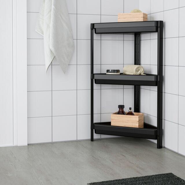 Ikea Badregal Regal Eckregal Standregal 3 Ablagen Schwarz 33x33x71cm Badezimmer Gunstig Kaufen Ebay