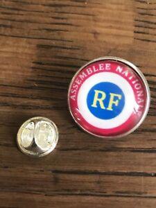 GROS PIN/'S 2cm Métal Argenté RF Cocarde Tricolore Macaron République Française