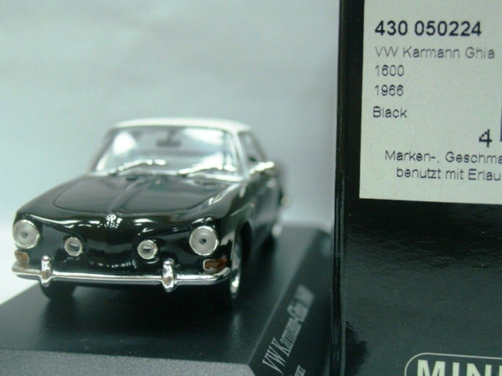 WOW estremamente raro VW KARMANN GHIA COUPE 'T34 1600 1966 Nero 1 43 Minichamps