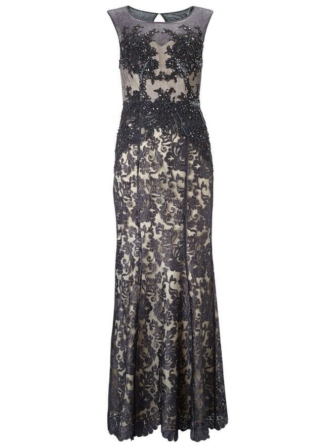 Phase Eight Collection 8 Pedra grau Embellished Cocktail Dress Party Maxi 12 40
