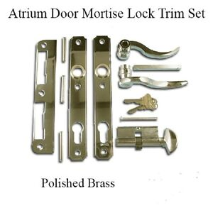 Atrium Door Mortise Lock Trim Set Polished Brass Ebay