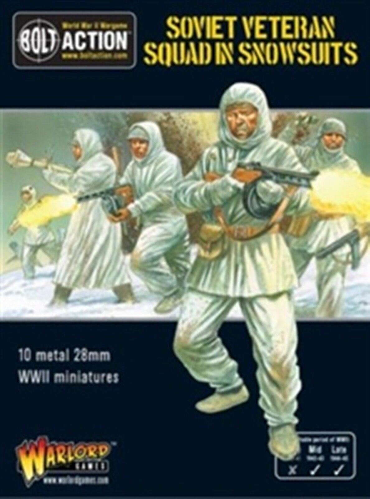 NEW BOLT ACTION MINIATURE SOVIET VETERAN SQUAD IN SNOWSUITS FIGURES 402214001