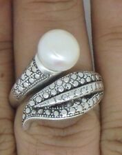 Bali Handmade 925 Sterling Silver Freshwater Pearl - Ring (Size P, Adjustable)