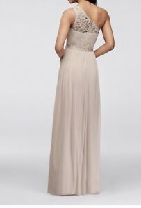 Details About Davids Bridal Long One Shoulder Lace Bridesmaid Dress