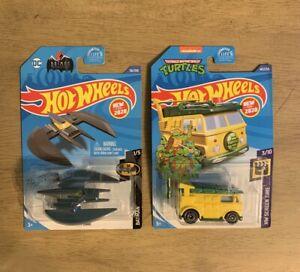 Hot-Wheels-2020-Batman-1-5-Batplane-amp-TMNT-Party-Wagon-Turtles-BRAND-NEW-lot