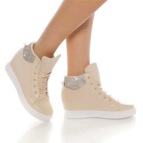 Trendy Femmes Semelle Compensée Baskets à Chaussures avec Strass Beige #AN-31