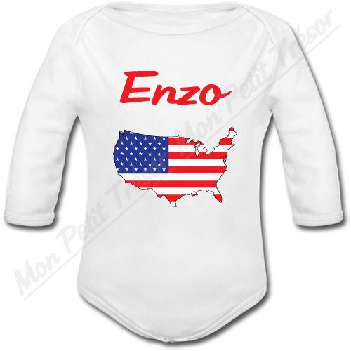 Body Bébé Carte USA Etats-unis avec prénom personnalisé naissance garçon fille