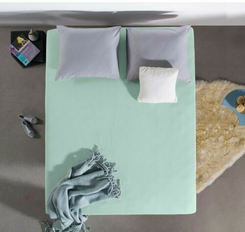 Spannbettlaken Spannbetttuch Baumwolle Doppel-Jersey 220g Mint 80 bis 220 cm