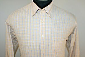 Scott-Barber-Mens-Long-Sleeve-Button-Down-Shirt-Size-Large-Yellow-Plaid