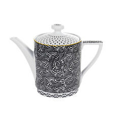 NEW TED BAKER BLACK+WHITE+GOLD CERAMIC TEA+COFFEE POT,TEAPOT(5.25 CUPS 42 OZ.)