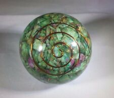 LARGE (60-70mm) RUBY IN FUCHSITE STONE ORGONE GEMSTONE SPHERE ORGONITE SPHERE