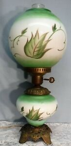 Vintage Gwtw Gone With The Wind Parlor Lamp Hand Painted Green & White Floral Low Price Lamps, Lighting