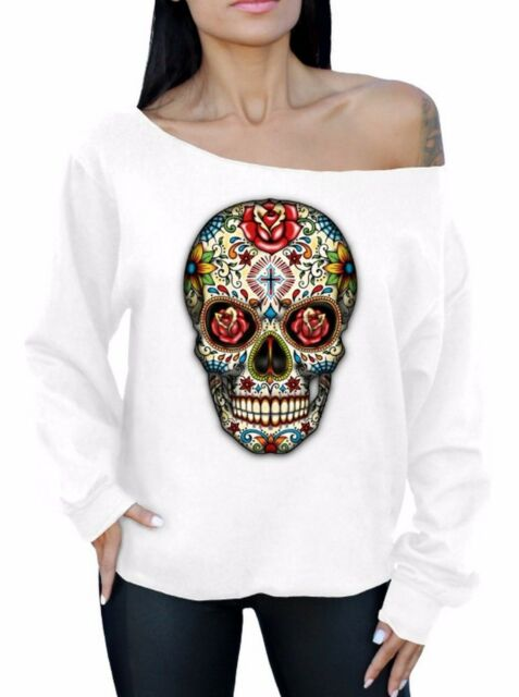 Sugar Skull Roses Off The Shoulder Slouchy Sweatshirt Oversized Day Of Dead