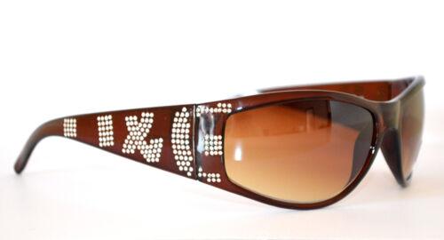 OCCHIALI da SOLE donna MARRONI lenti eleganti brillantini strass sunglasses 45