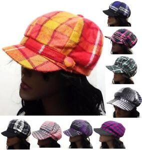 Women-039-s-New-Style-Celebrity-Plaid-Striped-Newsboy-Hat-Visor-Fashion-Style-Cap
